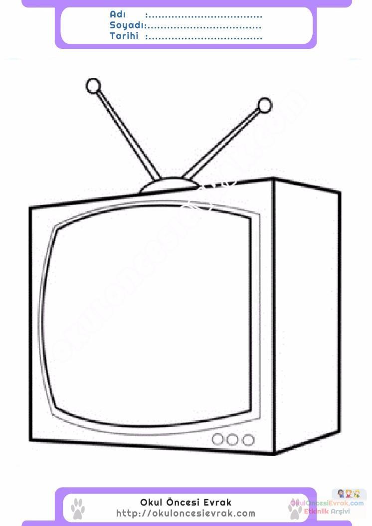 çocuklar Için Tv Eşyalar Boyama Sayfası 7 Preschool Activity