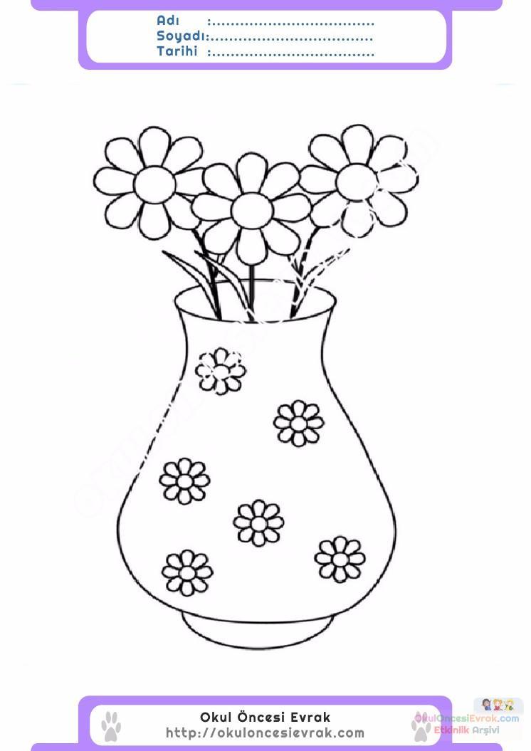 çocuklar Için Vazo Eşyalar Boyama Sayfası 5 Preschool Activity