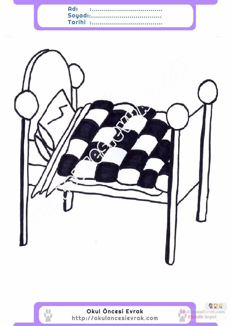 çocuklar Için Yatak Eşyalar Boyama Sayfası 13 Preschool Activity