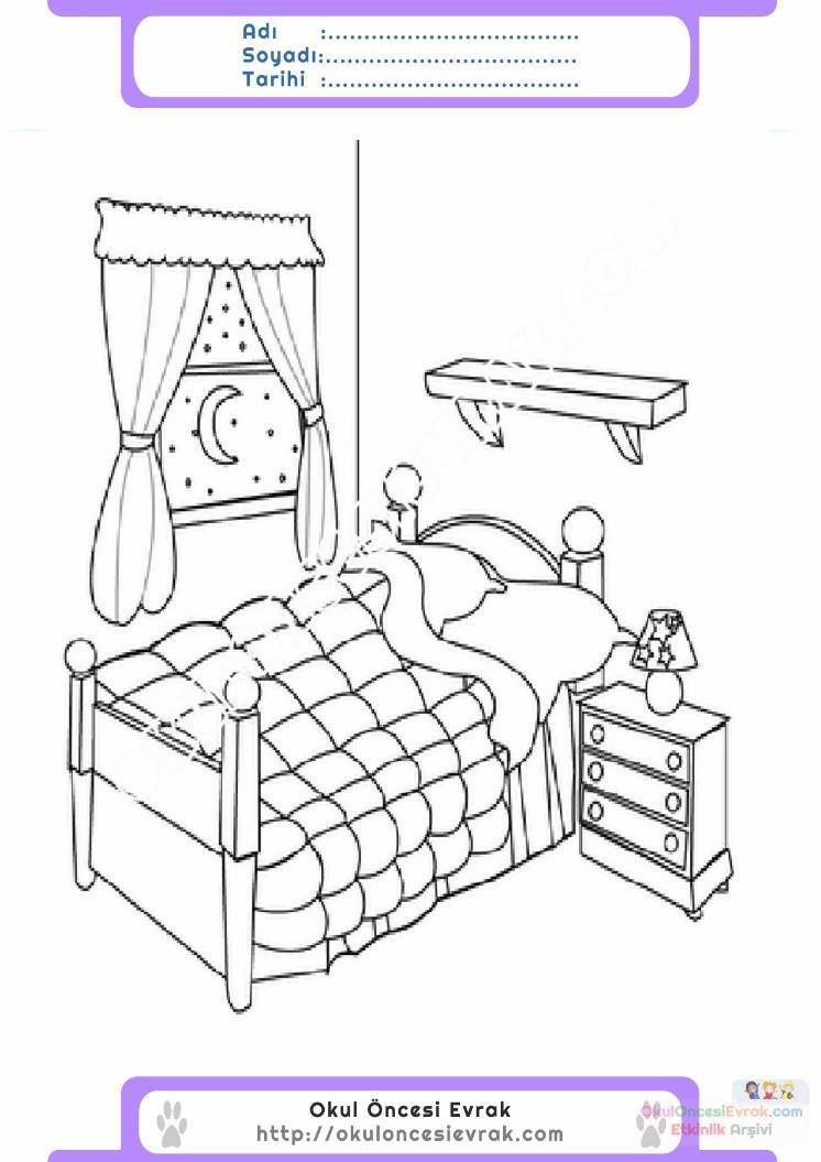 çocuklar Için Yatak Eşyalar Boyama Sayfası 15 Preschool Activity