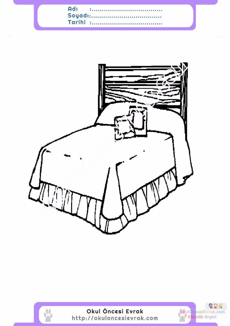 çocuklar Için Yatak Eşyalar Boyama Sayfası 2 Preschool Activity