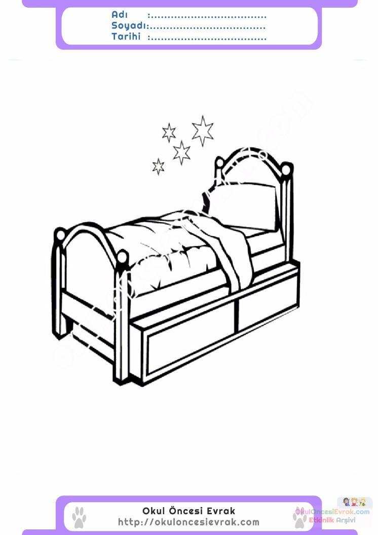 çocuklar Için Yatak Eşyalar Boyama Sayfası 3 Preschool Activity