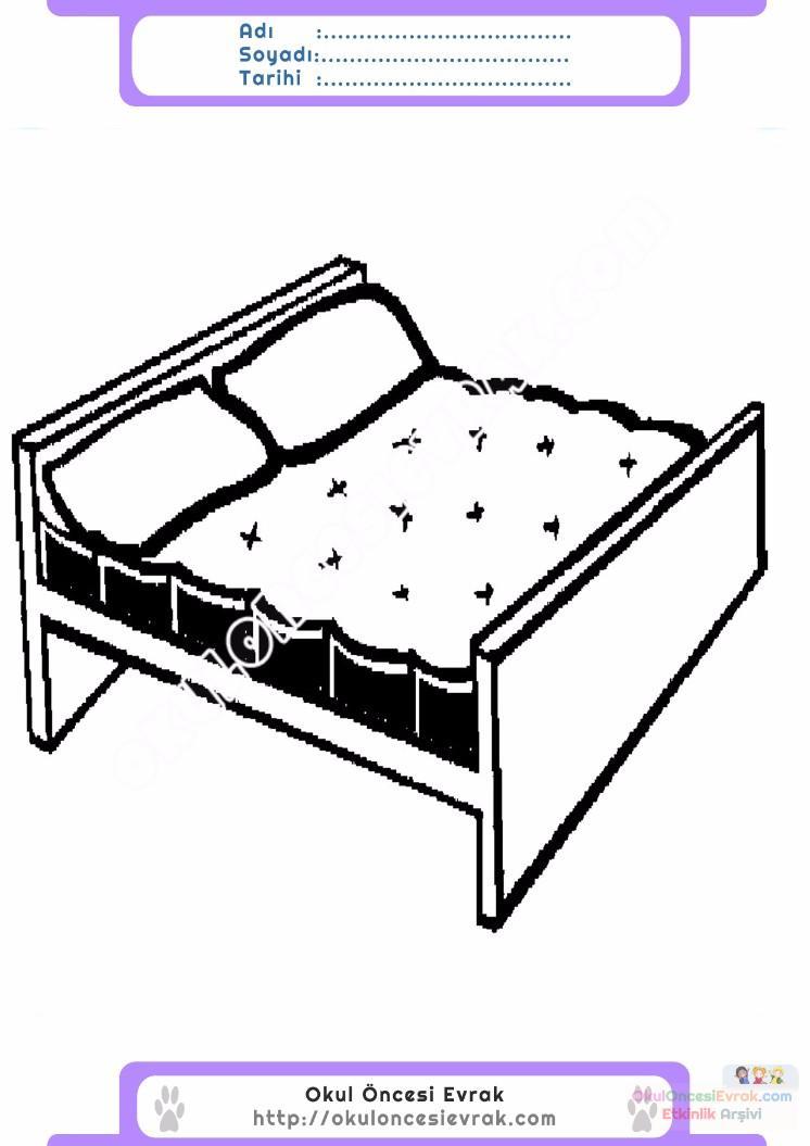 çocuklar Için Yatak Eşyalar Boyama Sayfası 8 Preschool Activity