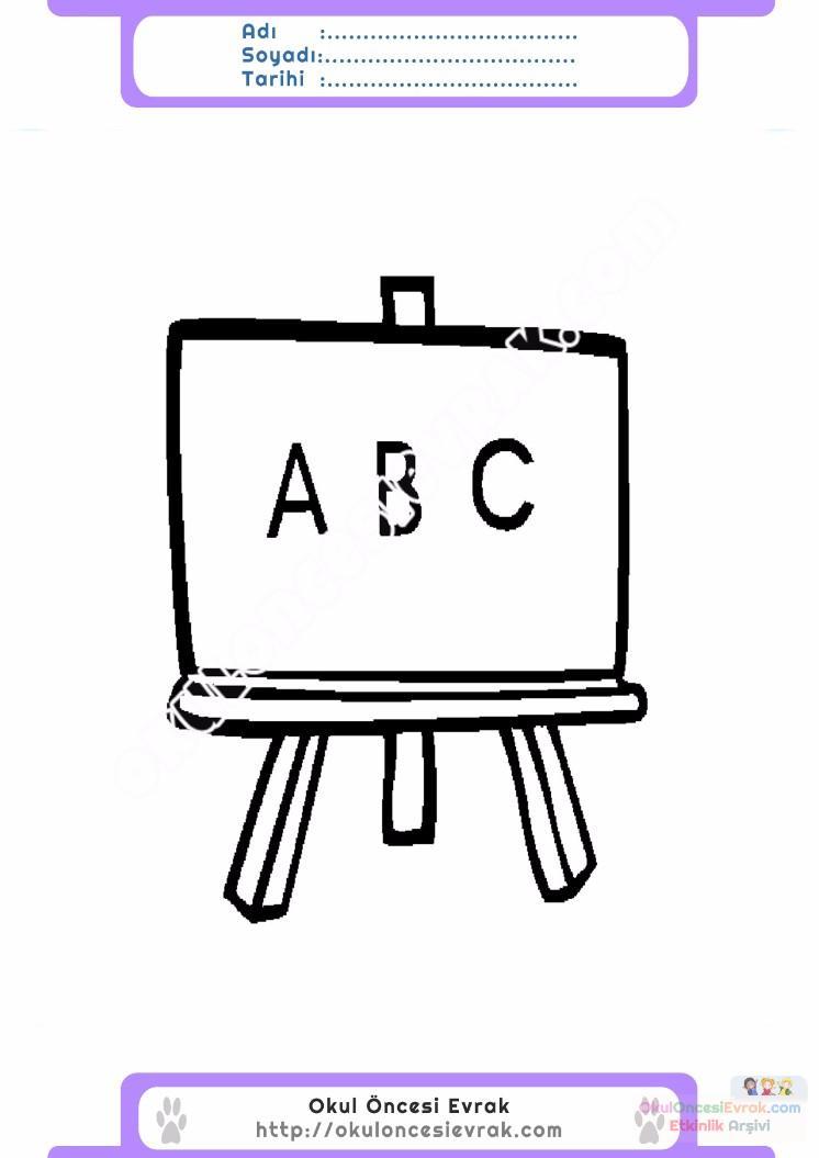 çocuklar Için Yazı Tahtası Eşyalar Boyama Sayfası 1 Preschool Activity