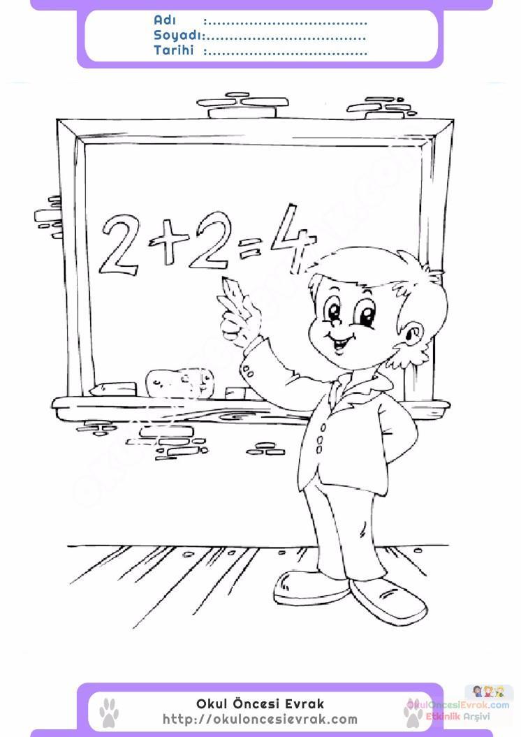 çocuklar Için Yazı Tahtası Eşyalar Boyama Sayfası 3 Preschool Activity