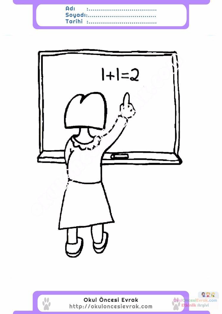 çocuklar Için Yazı Tahtası Eşyalar Boyama Sayfası 8 Preschool Activity