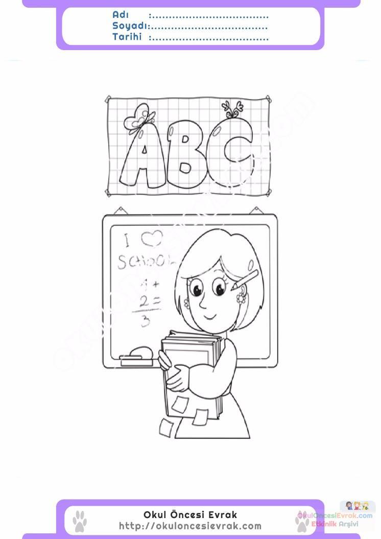çocuklar Için Yazı Tahtası Eşyalar Boyama Sayfası 9 Preschool Activity