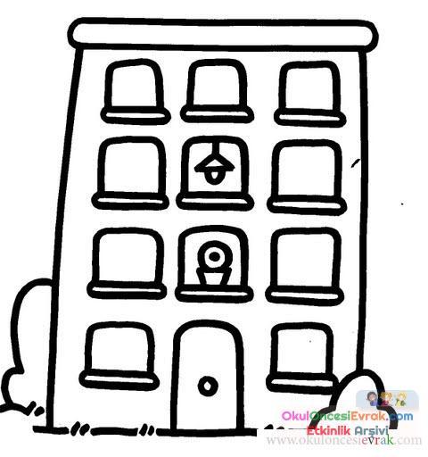 Ev Ve Bina Boyama 16 Preschool Activity