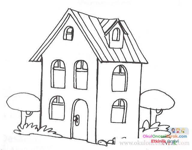 Ev Ve Bina Boyama 38 Preschool Activity