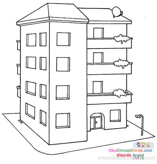 Ev Ve Bina Boyama 7yapmak Preschool Activity