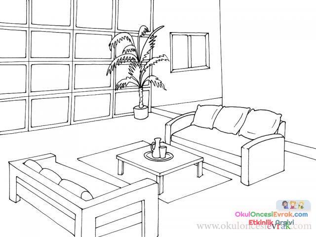 Evin Bölümleri Boyama 9 Preschool Activity