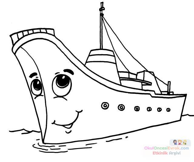 Gemi Boyama Sayfası Preschool Activity