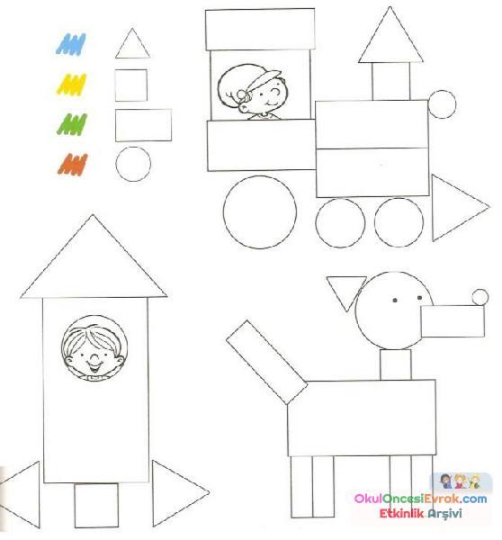 Geometrik şekiller Kavram 29 Preschool Activity
