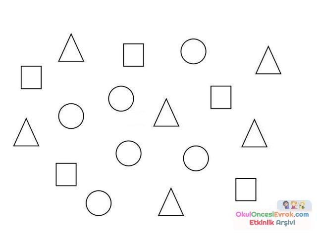Geometrik şekiller Kavram 38 Preschool Activity