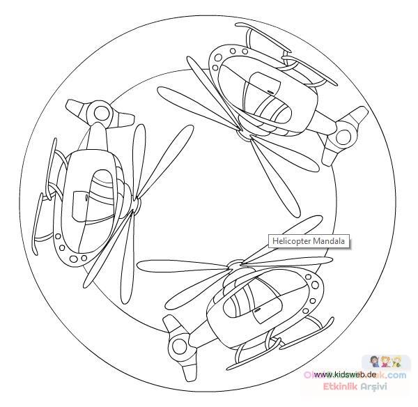 Helikopter Mandala Boyama Preschool Activity