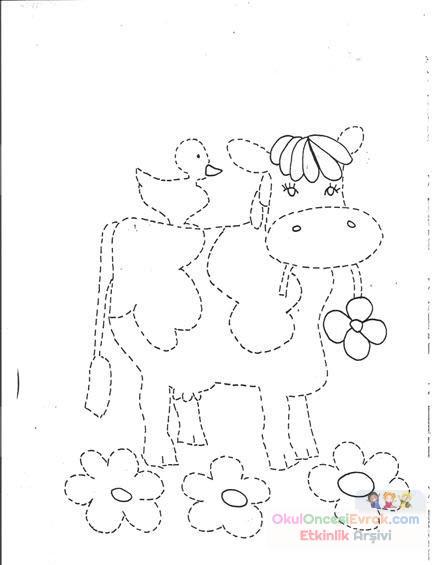 Inek Hayvanlar Boyama 5 Preschool Activity