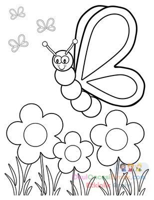 Kelebek çiçek Boyama Preschool Activity