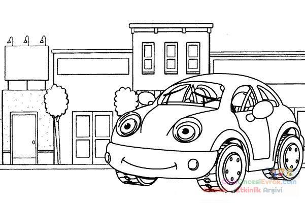 Kırmızı Araba Boyama 1 Preschool Activity