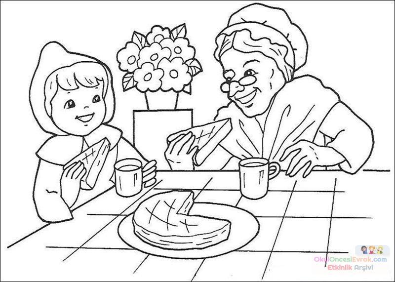 Kırmızı Başlıklı Kız Boyama 14 Preschool Activity