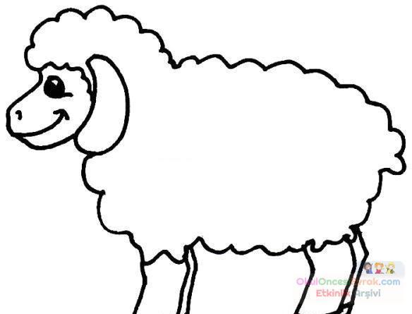 Koyunlar Hayvanlar Boyama 3 Preschool Activity