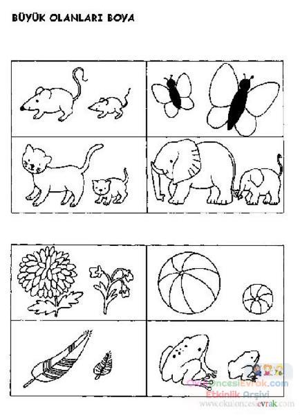 Küçük Büyük Kavramı 6 Preschool Activity