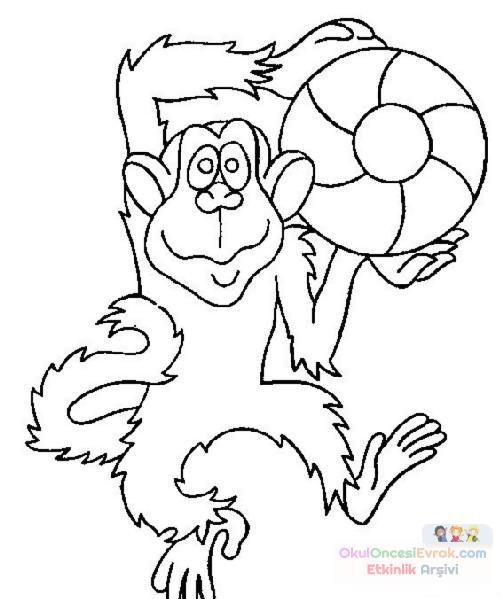 Maymun Hayvanlar Boyama 52 Preschool Activity
