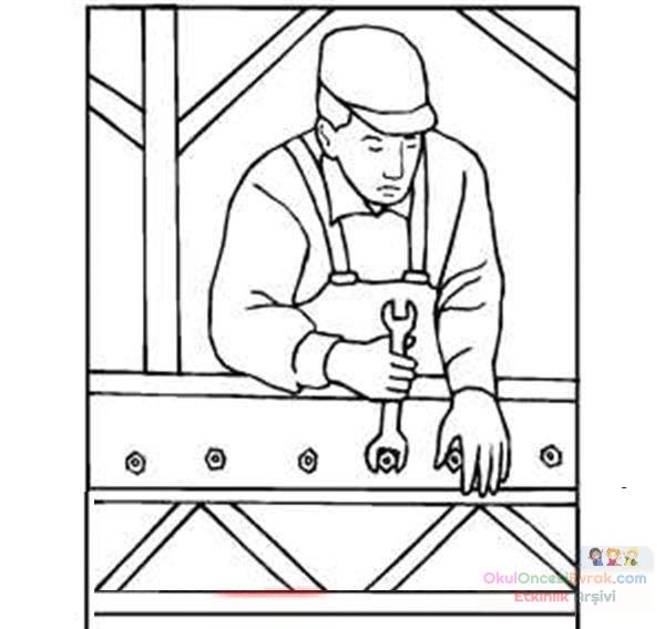 Construction worker coloring page