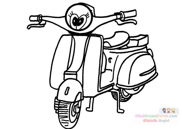 Motorsiklet Boyama Sayfası Preschool Activity