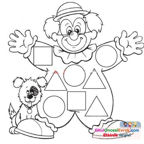 Payyaço şekiller Boyama Preschool Activity