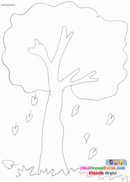 Sonbahar Ağacı Boyama Preschool Activity