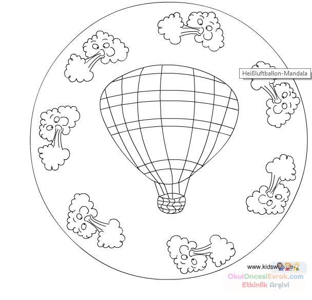 Uçan Balon Madala Boyama 1 Preschool Activity