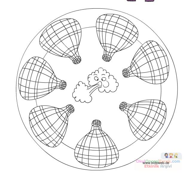 Uçan Balon Madala Boyama 2 Preschool Activity