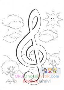 Müzik Aletleri Boyama Sayfası Preschool Activity