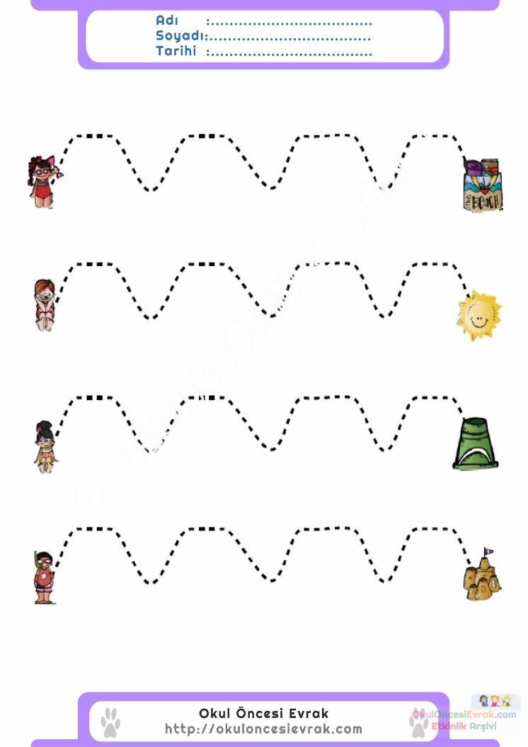 Anaokulu Için Serbest Düzenli çizgi çalışma Sayfaları 11 Preschool