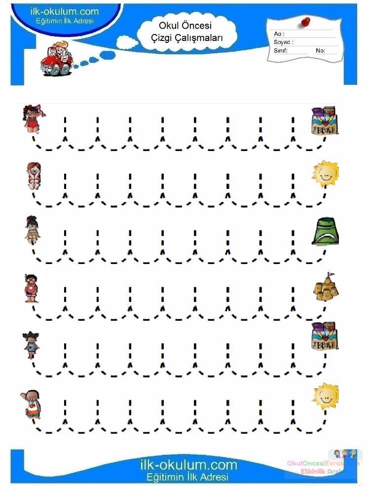 Anaokulu Için Serbest Düzenli çizgi çalışma Sayfaları 8 Preschool