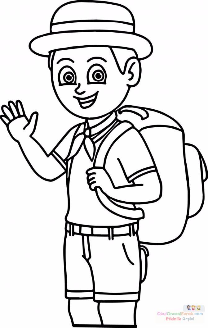 Izci Cocuk Boyama Sayfasi 768x1209 Preschool Activity