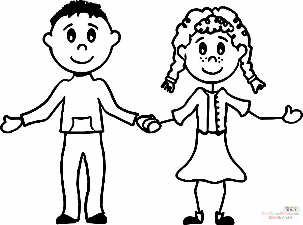 Kiz Ve Erkek Boyama Sayfasi Preschool Activity