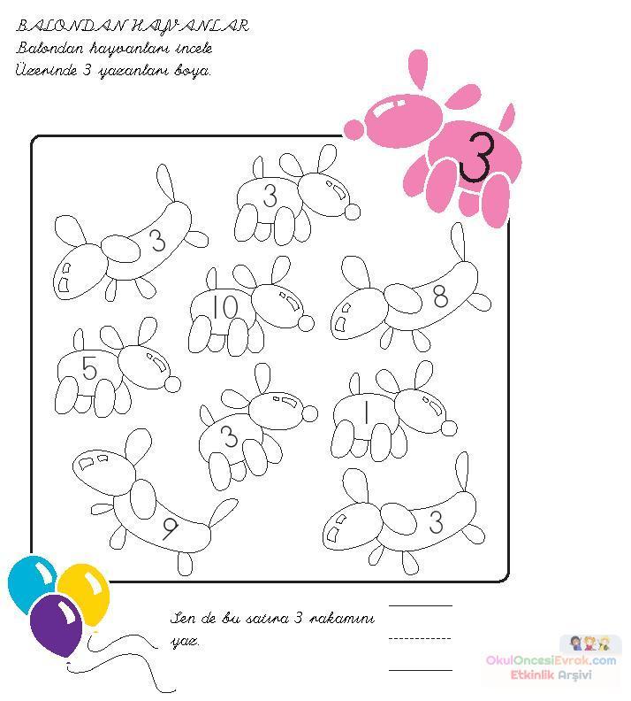3 Rakamıjpg Preschool Activity