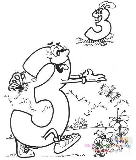 3 Sayısı Eğlenceli Boyama Preschool Activity