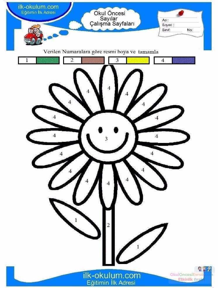 çocuklar Için Sayıya Göre Resmi Boya Boyama Sayfaları 5 Preschool