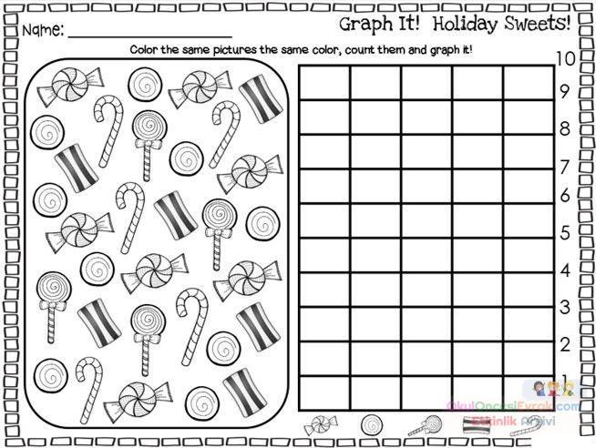 Anasınıfı şekerli Grafik çalışma Sayfası Preschool Activity
