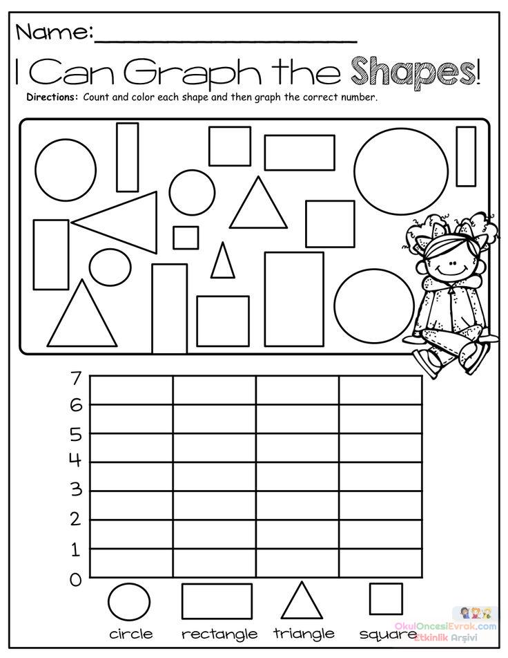 Anasınıfı şekilli Grafik çalışma Sayfası Preschool Activity