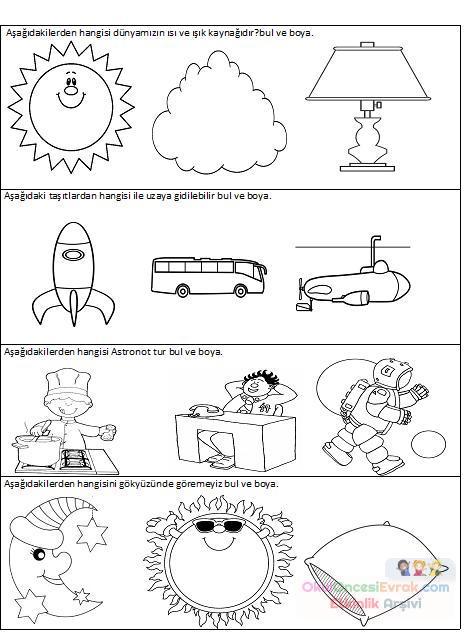 Dünyamız Ve Uzay Preschool Activity