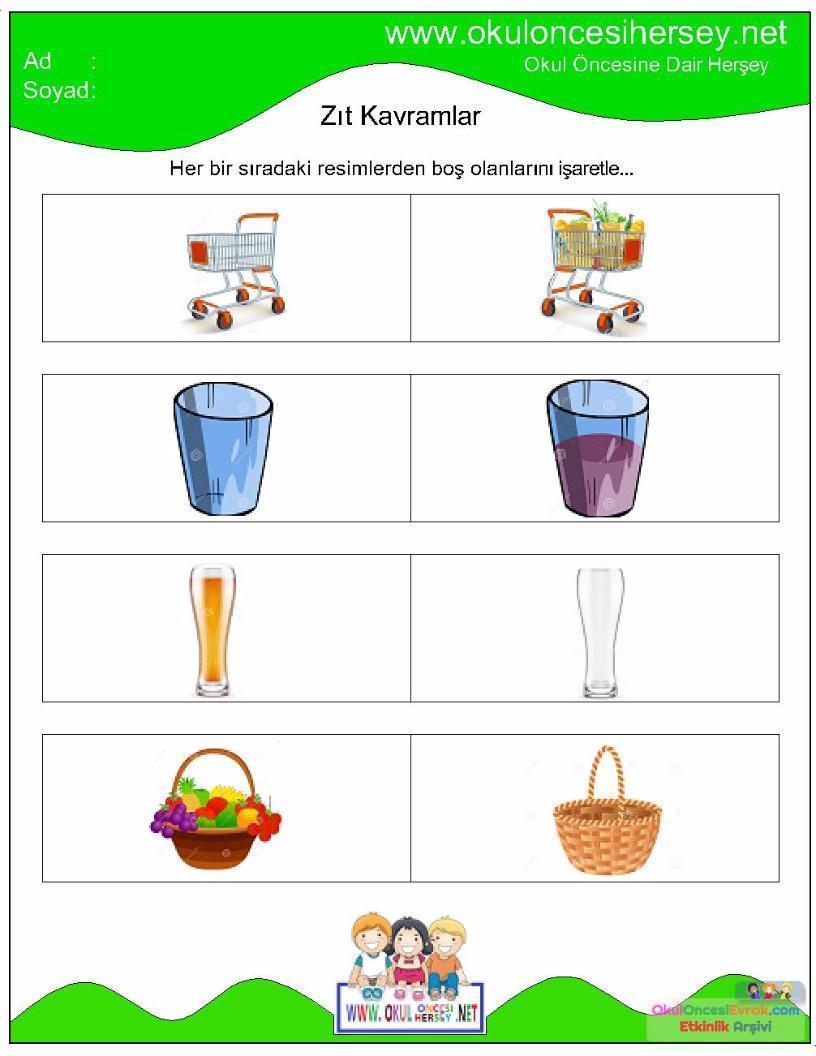 Zıt Kavramlar çalışma Sayfaları 10 Preschool Activity