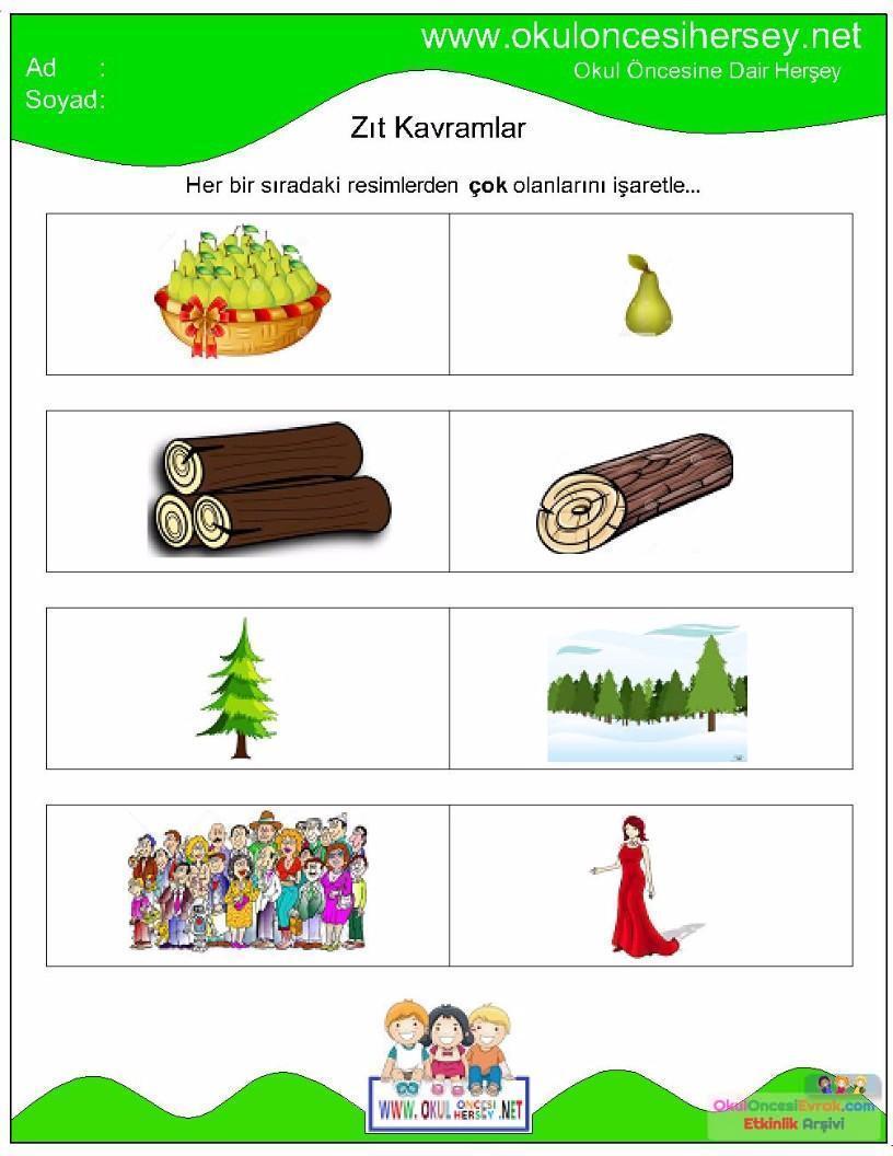 Zıt Kavramlar çalışma Sayfaları 11 Preschool Activity