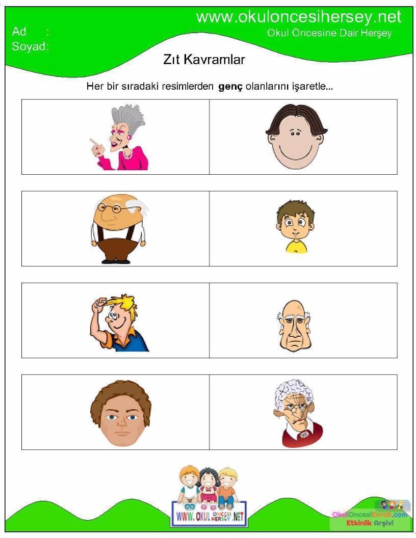 Zıt Kavramlar çalışma Sayfaları 13 Preschool Activity