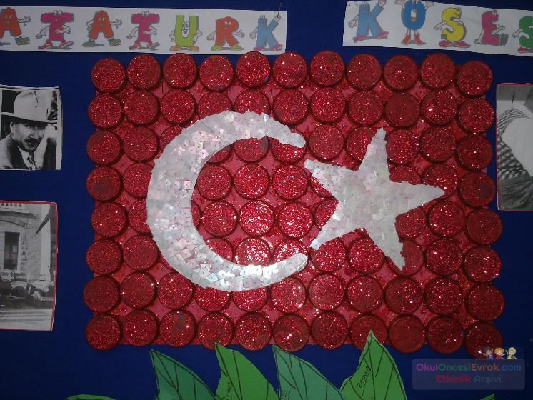 Kapaklardan Türk Bayraği Yaptik Preschool Activity