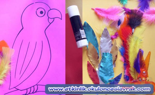 Поделка из перьев попугая 35