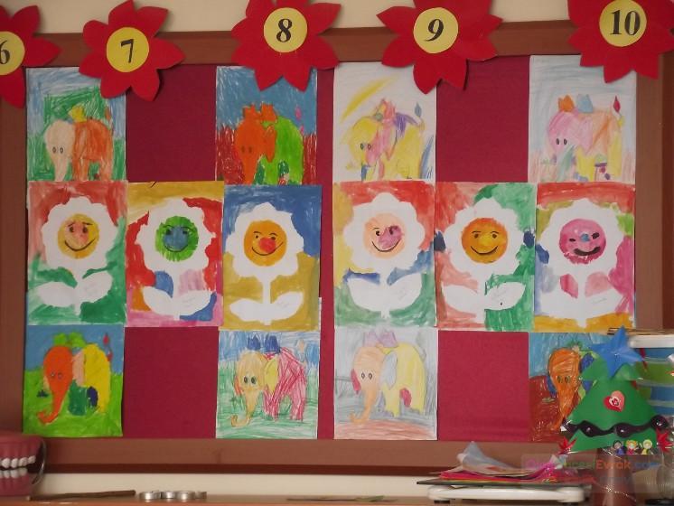 çiçekler Suluboya Kalıp Koyup Etrafını Boyama Preschool Activity