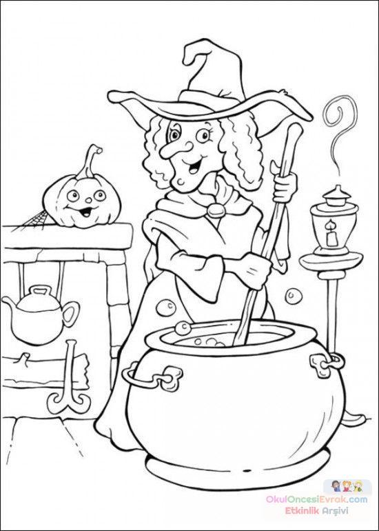 Okul öncesinde Cadı Boyama Sayfası 18 Preschool Activity